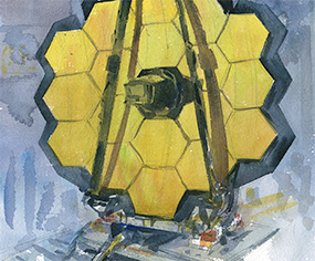Artistic painting of the James Webb Telescope