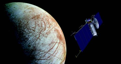 Illustration of spacecraft approaching Europa