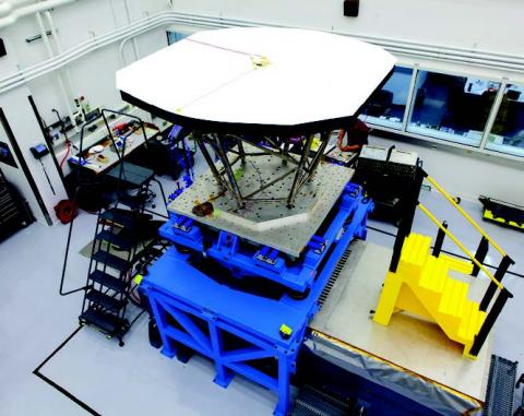 Photograph of heat shield equipment in lab