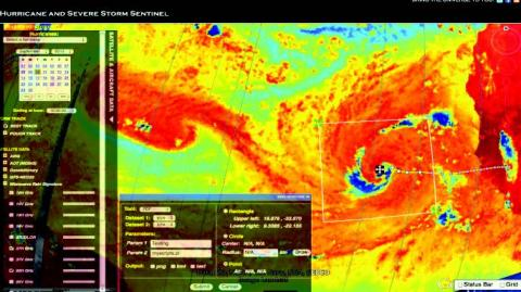 Screenshot of tropical cyclone information systems application with satellite imagery