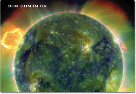 An Ultraviolet image of the Sun showing detail of solar flares and sun spot activity that is not visible to our eyes.