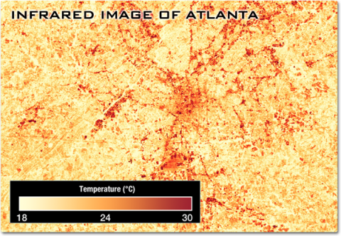 This image shows spots of orange and red – indicating elevated temperatures of plus 24 to 30 degrees Celsius – tracing the urban areas in and around the city of Atlanta.