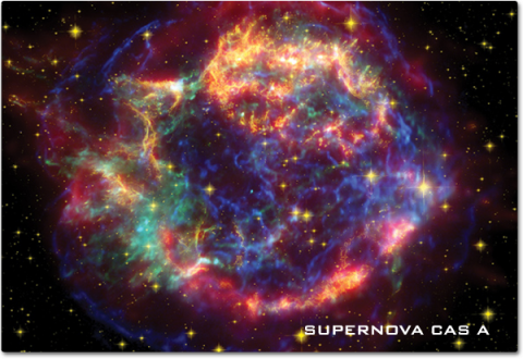 A vibrant multi-colored cloud describes how supernova CAS-A looks in this x-ray image composite.