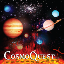 Artistic illustration of planets in the solar system with CosmoQuest title