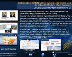 "Thumbnail of PowerPoint slide entitled ""Recruiting Students to Collect Surface Temperature Data for Urban Heat Island Effect Campaign: GLOBE Mission EARTH Webinar #1-UT"""