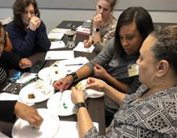 "Local educators analyze ""ice core samples"" with a NASA eClips activity."