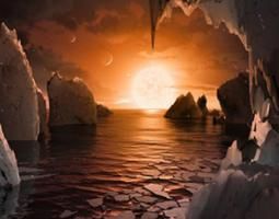 Illustration of TRAPPIST-1f's possible surface
