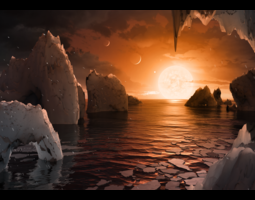 This artist's concept by Tim Pyle allows us to imagine what it would be like to stand on the surface of the exoplanet TRAPPIST-1f, located in the TRAPPIST-1 system in the constellation Aquarius.
