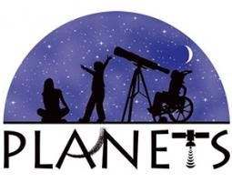 PLANETS logo depicting silhouettes of children and a telescope in front of a purple sky