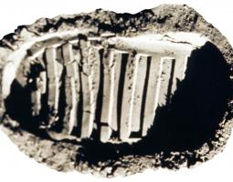 Photo of first boot foot print on moon surface (left foot)