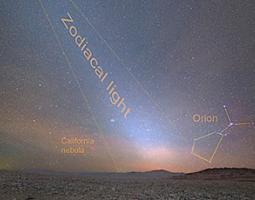 Zodiacal light, labeled by the text and cone shape in the image, captured at the site of the Giant Magellan Telescope at Las Campanas Observatory.