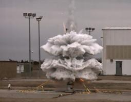 The process to disperse water in the upper atmosphere during the Super Soaker mission is tested at NASA's Wallops Flight Facility.