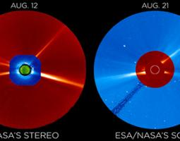 STEREO data on Aug. 12, 2017,  is compared to observations nine days later from SOHO, which had a similar perspective of the corona as was seen from the ground during the eclipse on Aug. 21.