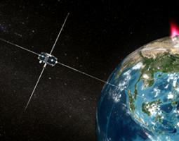 Artist's rendition of THEMIS satellite over Earth.
