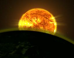 The sun partially obscured by the earth