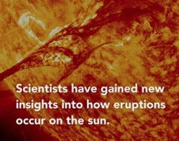 Screenshot from a video depicting a solar eruption