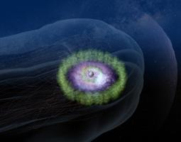 An artist's depiction of Earth's magnetosphere is shown in the image above. The green circle indicates Earth's outer radiation belt, which is one area of the magnetosphere that houses energetic particles.