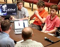Young male students from Arlington Career and Technical Center present their work to NASA GSFC SVS producers