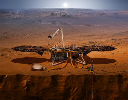 An artist's impression of the InSight lander on Mars