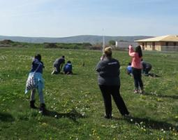Students working with water and Estes rockets in a grassy field