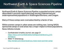 "Thumbnail of PowerPoint slide entitled ""Northwest Earth & Space Sciences Pipeline"""