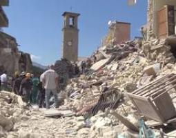 Photo of a city damaged by an earthquake