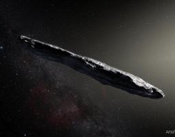 Artist's concept of interstellar asteroid 1I/2017 U1 ('Oumuamua)