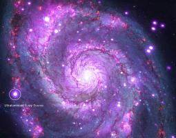 An ultraluminous X-ray source in the M51, or Whirlpool, galaxy.