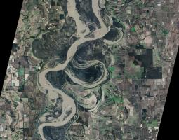 Satellite image of flooding along river
