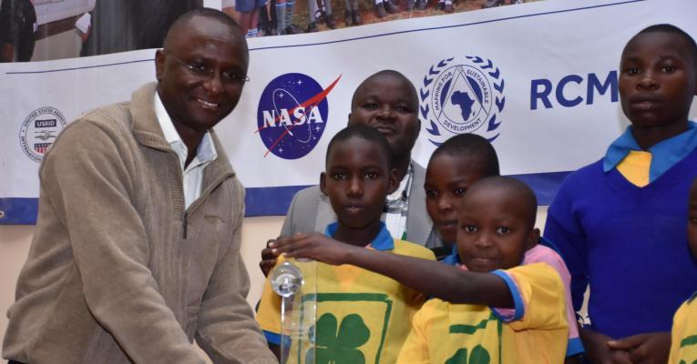 Photo of children receiving an alert