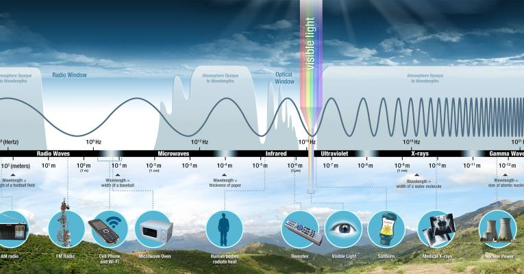 A diagram of the electromagnetic spectrum showing the 7 regions of the spectrum (from longest to shortest wavelength):  radio waves, microwave, infrared, visible, ultraviolet, x-ray, and gamma rays. Examples of radio waves include fm & am radio frequencies. Mircrowaves are used in microwave ovens and their lengths are about the size of a baseball. Infrared waves are much shorter – about the size of a thickness of paper. The heat energy that radiates off human and other animals is in the infrared region.