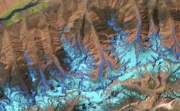 False-color satellite image of glacier in Afghanistan
