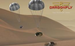 Artist depiction of Dragonfly mission with two parachute rotorcraft above the surface of the moon Titan