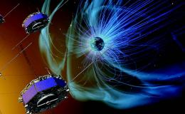Artist concept of mission spacecraft flying through magnetic fields around earth