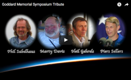 screenshot of video tribute to four scientists