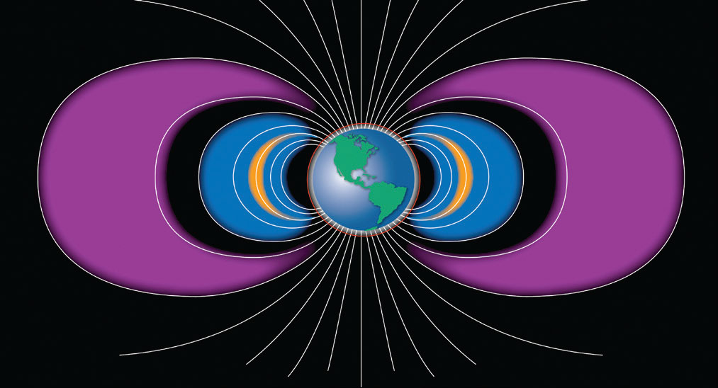 Illustration of Van Allen Radiation Belts surrounding earth