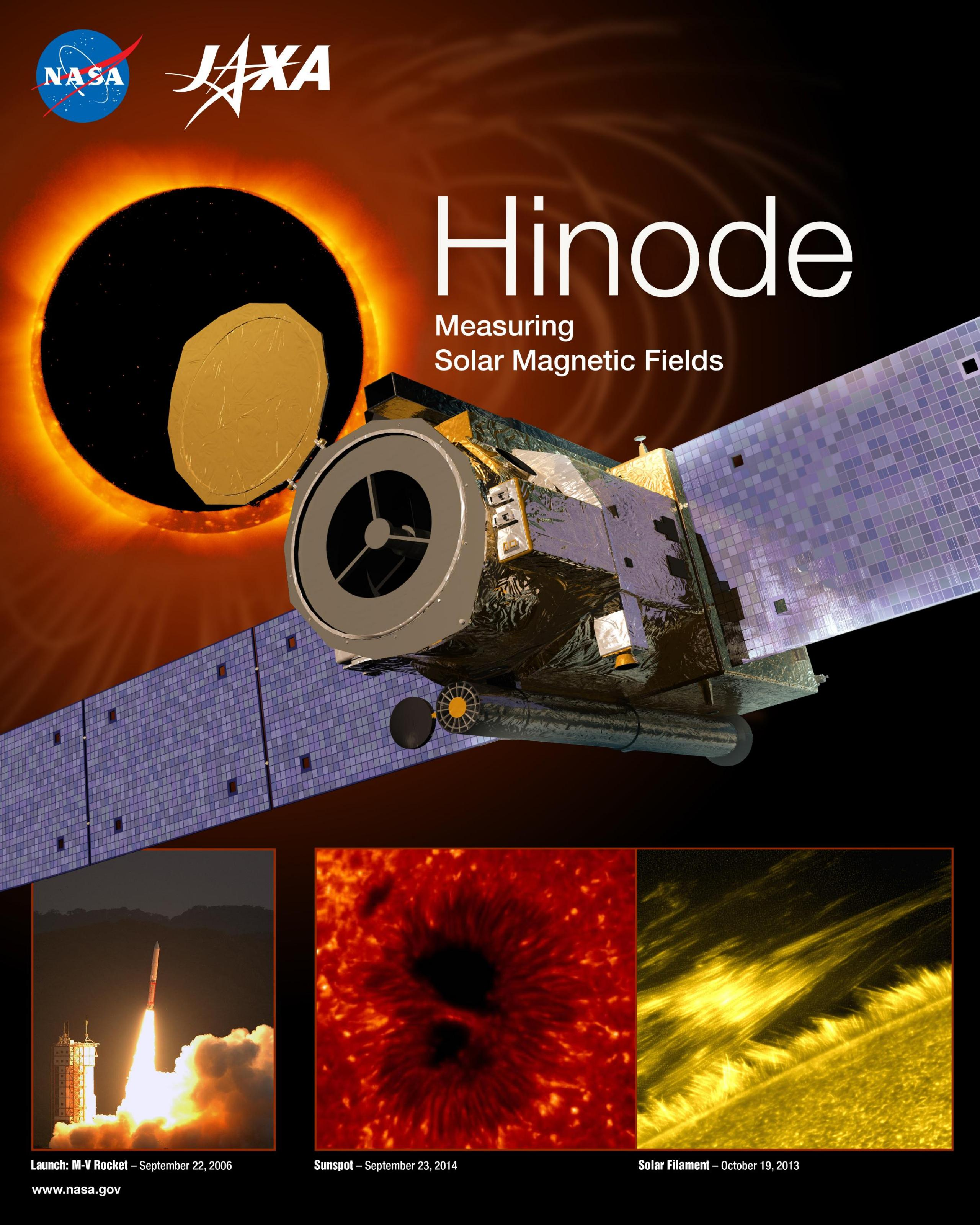 Hinode mission poster with satellite, sun and heliophysics imagery
