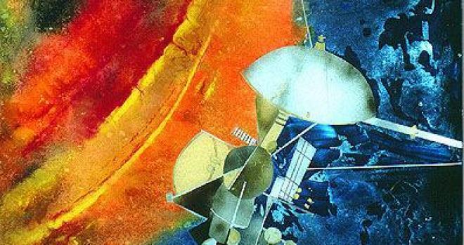 Artwork of Cassini spacecraft and Saturn