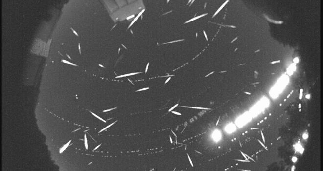 Black and white image showing multiple meteors in the sky.