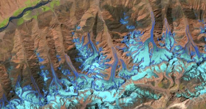 False-color satellite image of glacier in Afghanistan