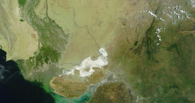 Satellite image of water and land