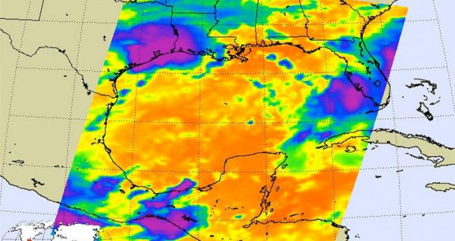 Satellite image showing Hurricane Harvey over Texas