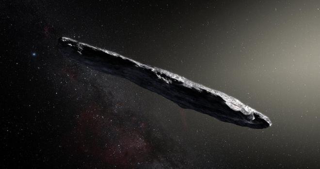 Artist's concept of interstellar asteroid 1I/2017 U1 ('Oumuamua)