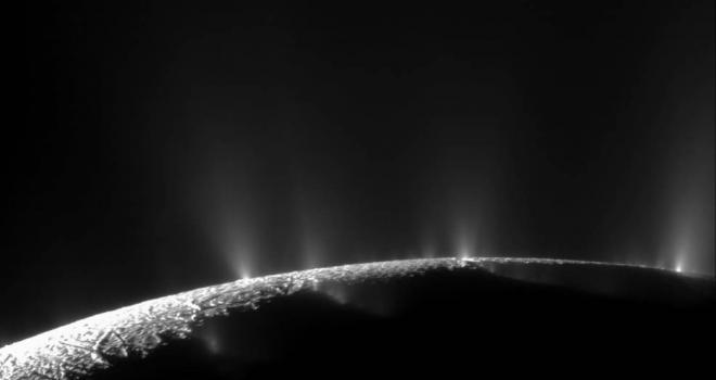 Black and white image of Enceladus