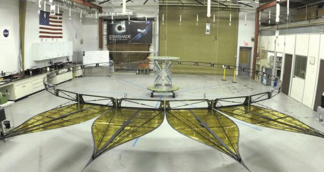 Photograph of prototype of starshade's inner disk inside JPL's laborator