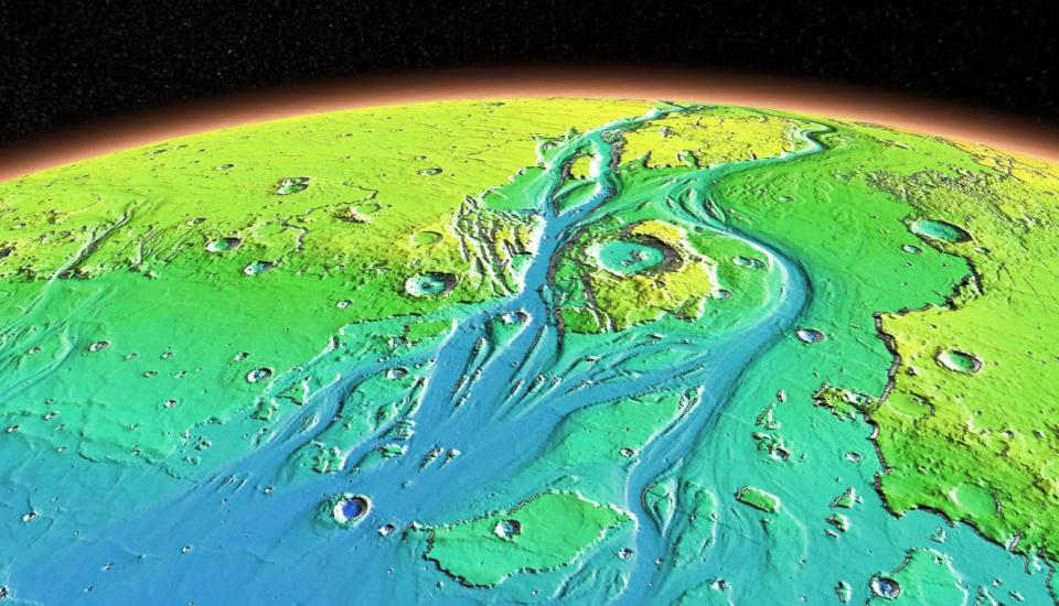 Mars' Grand Canyon, Valles Marineris, visualized by Mars Trek using data from the THEMIS instrument on the Mars Odyssey spacecraft and the MOLA laser altimeter aboard the Mars Global Surveyor spacecraft.