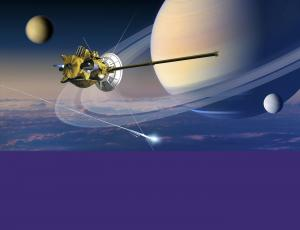 Artwork of Cassini spacecraft and Saturn