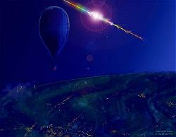Artist Jack Egan's concept of the meteor balloon in flight to the stratosphere