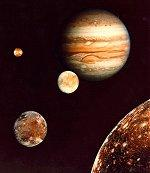 Montage of Jupiter and its 4 largest satellites.
