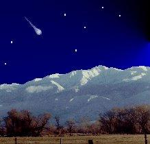 artist's concept of a Quadrantid fireball streaking above the White Mountains in central CA.